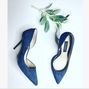 White House Black Market Blue Pointed Toe Heels